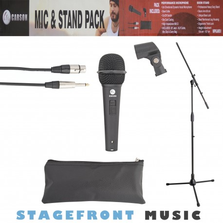 CARSON MC63 UNIDIRECTIONAL SILVER MICROPHONE WITH INCLUDED XLR TO JACK CABLE