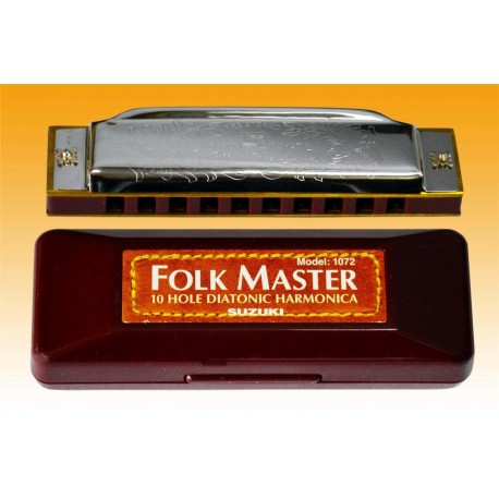 SUZUKI FOLKMASTER HARMONICA CHOOSE KEY. PLAYS WITH CLARITY.
