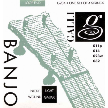 BANJO STRINGS- GALLI. NICKEL. TENOR 11-32 G204