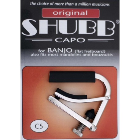 SHUBB C5 NICKEL BANJO CAPO ALSO FITS MOST MANDOLINS AND BOUZOUKIS