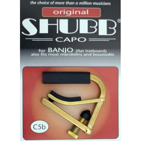 SHUBB C5B BRASS BANJO CAPO FOR FLAT FRETBOARD ALSO FITS MOST MANDOLINS