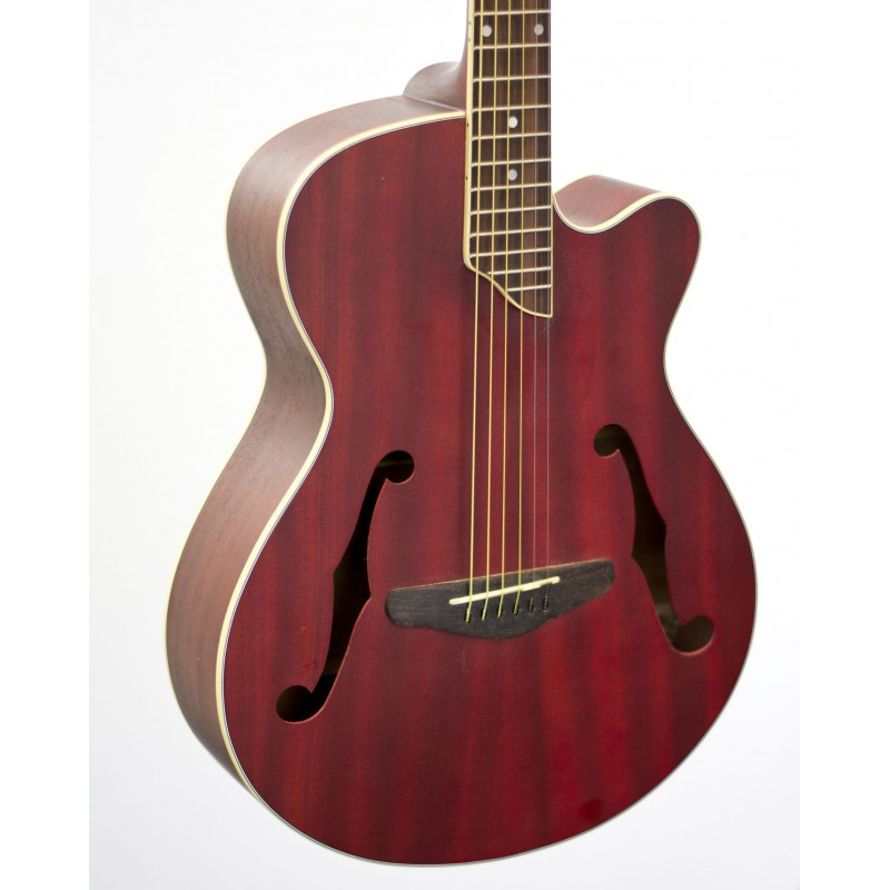 martinez jazz hybrid small body acoustic electric cutaway guitar red mjh 3cp trd. Black Bedroom Furniture Sets. Home Design Ideas
