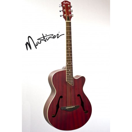 MARTINEZ JAZZ HYBRID SMALL-BODY ACOUSTIC-ELECTRIC CUTAWAY GUITAR. RED - MJH-3CP-TRD
