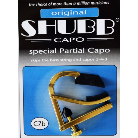 SHUBB C7B BRASS PARTIAL CAPO COVERS 3 INSIDE STRINGS