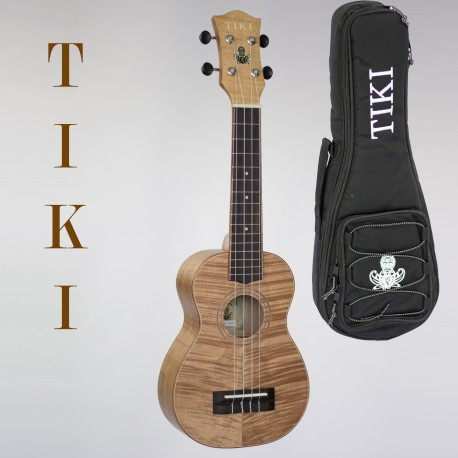 TIKI SOPRANO UKULELE - SERIES 2  KOA BODY. AQUILA STRINGS. GIG BAG