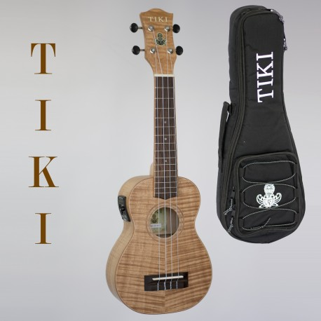 TIKI SOPRANO ELECTRIC UKULELE - SERIES 2  KOA BODY. AQUILA STRINGS. GIG BAG