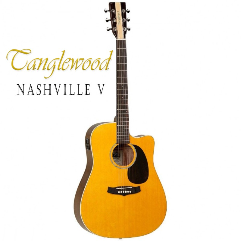 tanglewood nashville v folk acoustic electric guitar with cutaway tn5dce. Black Bedroom Furniture Sets. Home Design Ideas