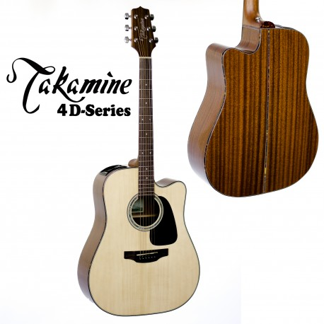 TAKAMINE ED4DCNAT SERIES 4. SOLID SPRUCE TOP ACOUSTIC/ELECTRIC DREADNOUGHT GUITAR