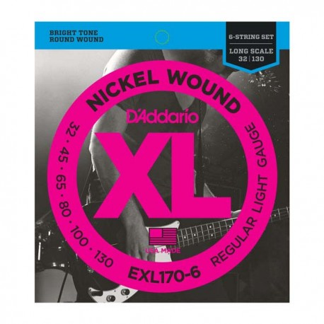 D'ADDARIO 6 STRING BASS GUITAR STRINGS LIGHT 32-130
