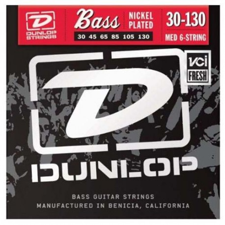 DUNLOP 6 STRING BASS GUITAR STRINGS MED 30-130