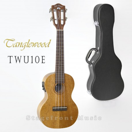 TANGLEWOOD SOLID MAHOGANY ACOUSTIC/ELECTRIC UKULELE WITH HARD CASE. TWU10E