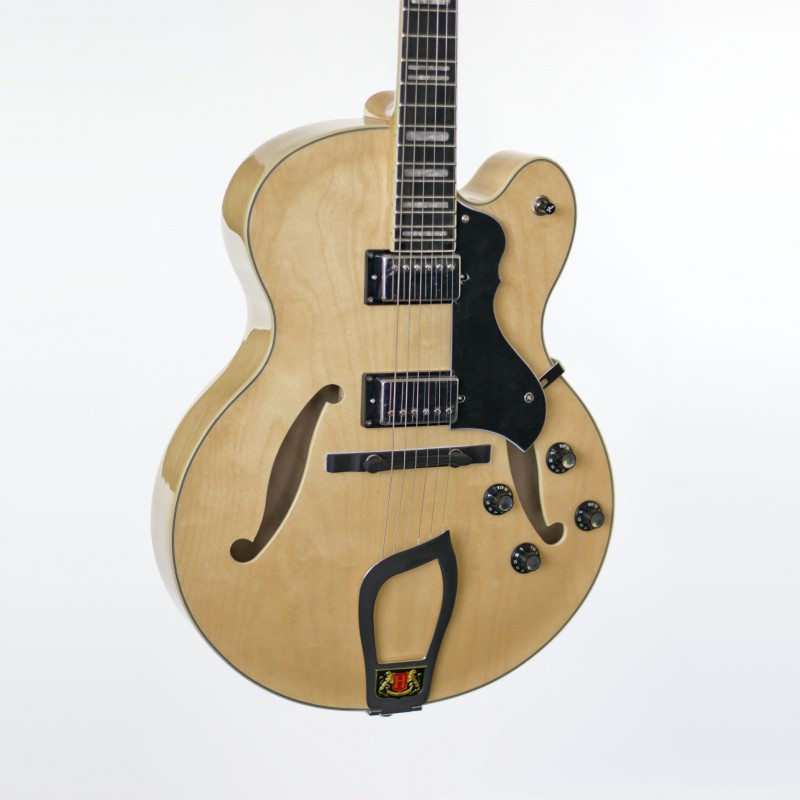 hagstrom hj500 semi hollow body jazz guitar natural finish case included. Black Bedroom Furniture Sets. Home Design Ideas