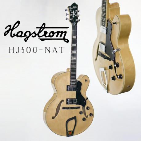 HAGSTROM HJ500 SEMI-HOLLOW BODY JAZZ GUITAR NATURAL FINISH. CASE INCLUDED