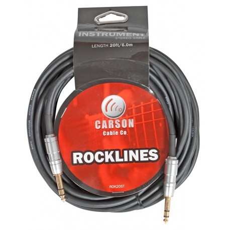 CARSON ROK20ST 20FT/6M STEREO INSTRUMENT/AUDIO CABLE HEAVY DUTY WITH GOLD SHAFTS