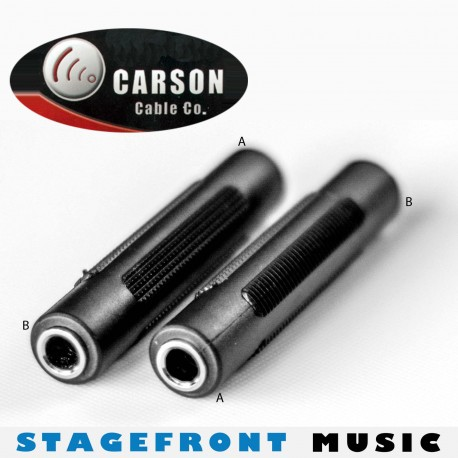 CARSON COUPLING ADAPTOR 3798 - 6.3mm STEREO FEMALE TO FEMALE. ABS CASING.