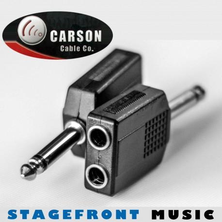 CARSON ADAPTOR 3930 6.3mm MONO JACK PLUG (M) TO 2 x 6.3mm MONO (F)