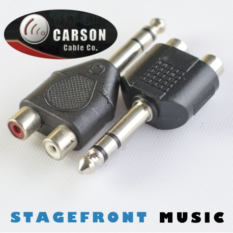 CARSON ADAPTOR (M) 6.3 STEREO TO 2 x RCA (F)