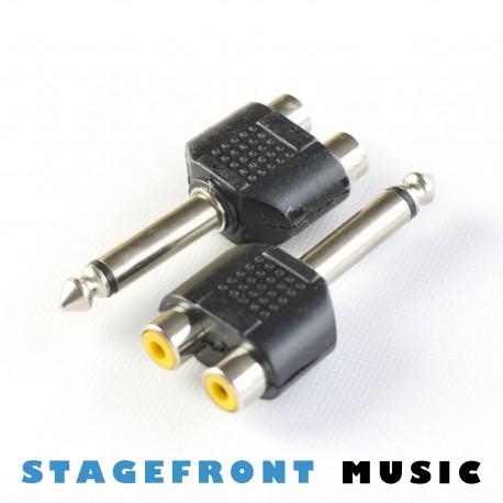 ADAPTOR (M) 6.3 MONO TO 2 x RCA (F)