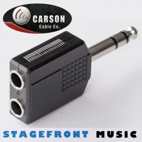 CARSON ADAPTOR 3970 6.3mm STEREO JACK PLUG (M) TO 2 x 6.3mm STEREO SOCKETS (F)