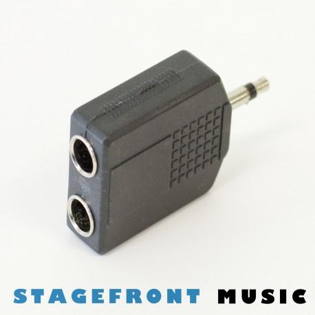 ADAPTOR 3.5mm MONO JACK PLUG (M) TO 2 x 6.3mm MONO SOCKETS(F)