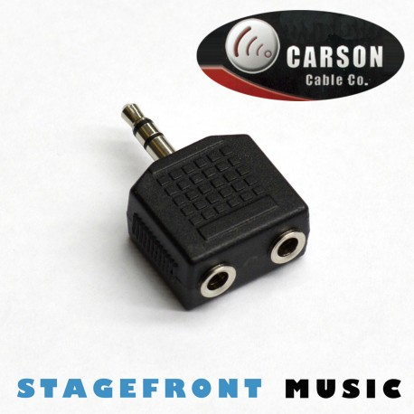 CARSON ADAPTOR 3.5 STEREO JACK PLUG (M) TO 2 x 3.5 STEREO SOCKETS (F)