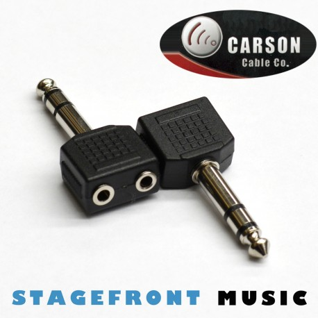 CARSON ADAPTOR 6.3 STEREO JACK PLUG (M) TO 2 x 3.5 STEREO SOCKETS (F)