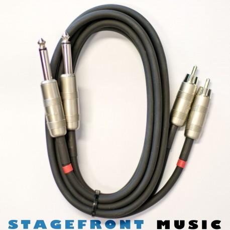 CABLE 2 x 6.3 MONO (M) - 2 x RCA (M) 2mt METAL CASING
