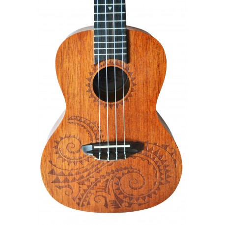 LUNA TATTOO MAHOGANY *view video* CONCERT SIZE UKULELE with GIG BAG - NEW
