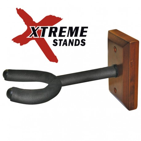 XTREME WALL MOUNTED GUITAR HANGER ON ROSEWOOD COLOURED HARDWOOD BLOCK DSU92