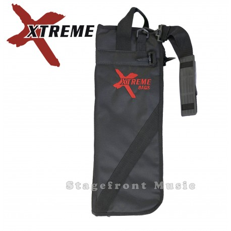 XTREME DRUM STICK BAG. BLACK NYLON WATERPROOF YARN. HANGING CLIPS - CTB15