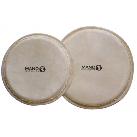 BONGO HEAD MANO PERCUSSION REPLACEMENT SETS IN VARIOUS SIZES NATURAL HIDE