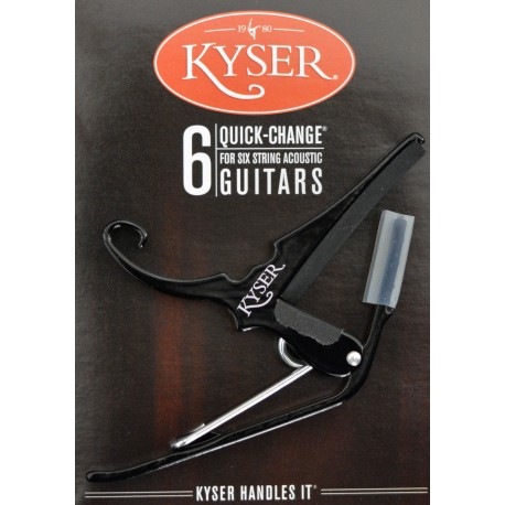 KYSER QUICK CHANGE CAPO FOR STEEL STRING ACOUSTIC GUITAR. BLACK