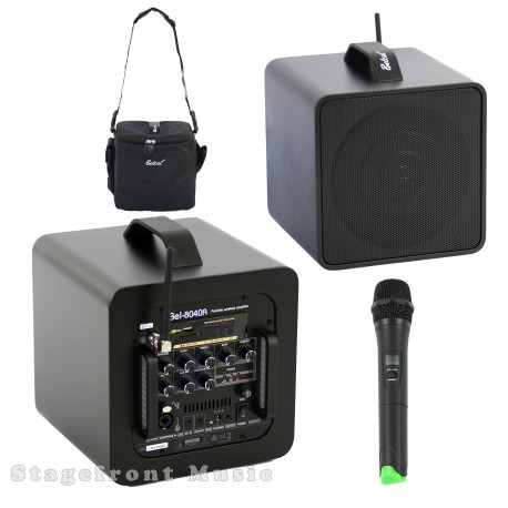 BELCAT SINGLE CHANNEL PORTABLE BATTERY POWERED 40W ACTIVE SPEAKER PA SYSTEM