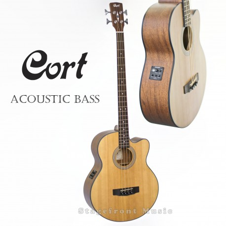 CORT SJB5F-NS ACOUSTIC/ELECTRIC SOLID TOP BASS GUITAR. FISHMAN PREAMP