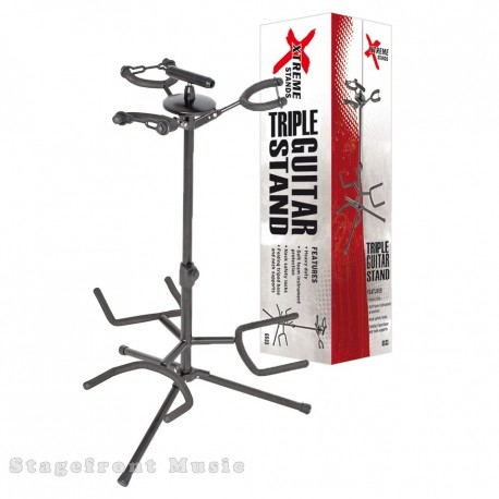 TRIPLE GUITAR STAND. HEAVY DUTY. RUBBER PROTECTION