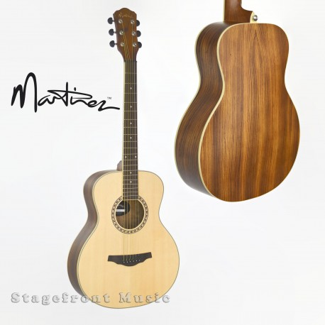 MARTINEZ MZP-TT33Z-NST SMALLER BODY ACOUSTIC/ELECTRIC ZEBRAWOOD TOP GUITAR.
