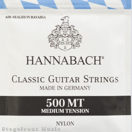 HANNABACH 500 MT CLASSICAL SET-SILVER PLATED. BLACK MEDIUM TENSION