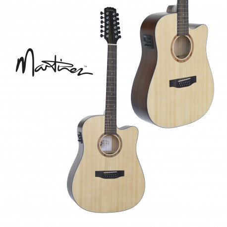 martinez 12 string acoustic electric guitar spruce top. Black Bedroom Furniture Sets. Home Design Ideas