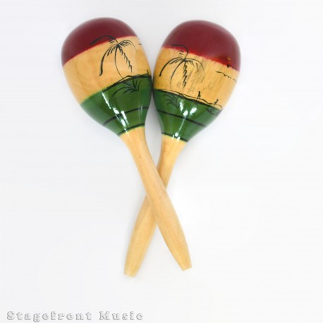 MARACAS ORANGE MOULDED PLASTIC WITH WOODEN HANDLES 27.5 cm LONG. 1 pair