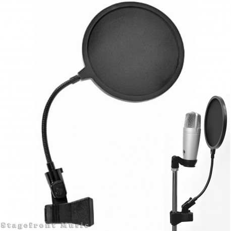 "MICROPHONE POP FILTER SCREEN 6"" DIAMETER WITH GOOSENECK EASY INSTALL"