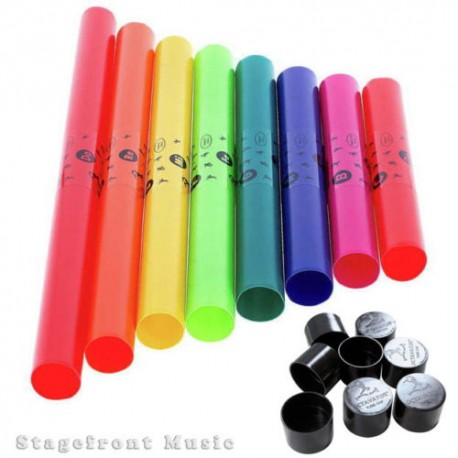 BOOMWHACKERS C MAJOR DIATONIC SET OF 8 BOOM WHACKER TUBES WITH 8 OCTAVATOR CAPS