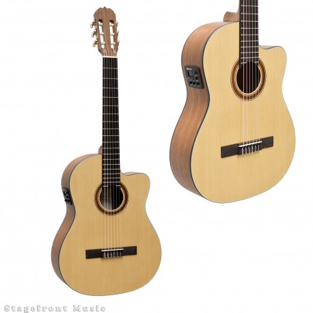 MARTINEZ CLASSICAL GUITAR SPRUCE TOP ACOUSTIC ELECTRIC CUTAWAY BUILT-IN TUNER MNCC-15-SOP