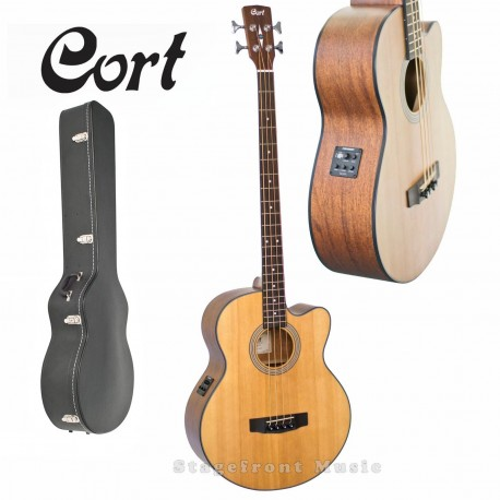 CORT SJB5F-NS ACOUSTIC/ELECTRIC SOLID TOP BASS GUITAR with CASE
