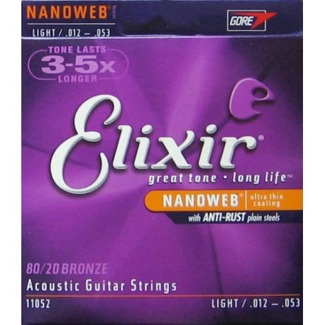 ELIXIR ACOUSTIC NANOWEB 80/20 BRONZE GUITAR STRINGS 11-52