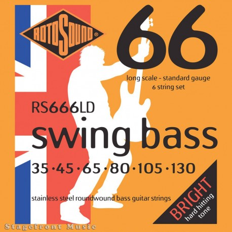 ROTOSOUND RS666LD 35-130 SWING BASS 66 STAINLESS STEEL 6 STRING BASS GUITAR SET