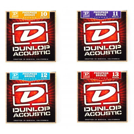 DUNLOP ACOUSTIC GUITAR STRINGS PHOSPHOR BRONZE SELECT GAUGE