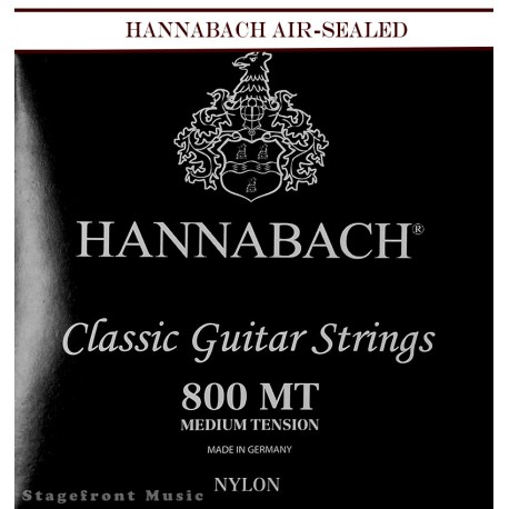 HANNABACH E800MT CLASSICAL SET-SILVER PLATED. BLACK MEDIUM TENSION