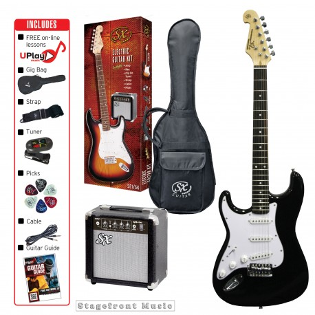 SX LEFT HAND ELECTRIC GUITAR PACKAGE INCLUDES ACCESSORIES AND AMP