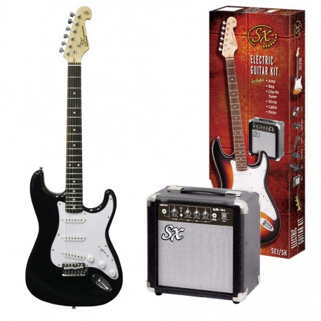 SX SE1SKB ELECTRIC GUITAR WITH ACCESSORY PACKAGE GIG BAG AND AMP