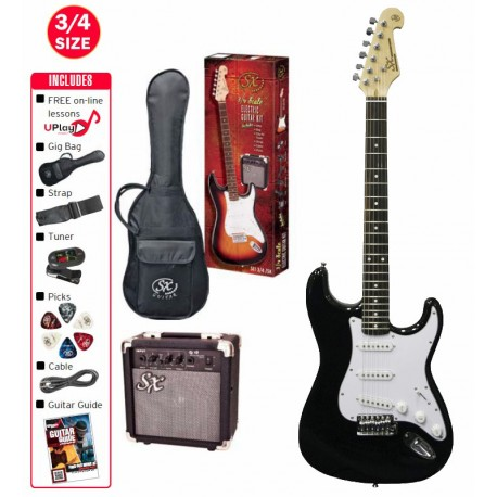 SX ELECTRIC 3/4 BLACK GUITAR WITH ACCESSORY PACKAGE AND AMP
